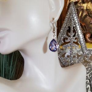 Sky Blue Bezel Rhinestone & Silver Earrings